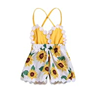 Toddler Baby Girl Cute Outfits Fruit Flower Print Lace Trim Backless Romper Bodysuit Jumpsuit Summer Clothes