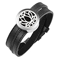 LADEMAYH Women Aromatherapy Bracelet Diffuser for Essential Oils- Lotus Design Stainless Steel Locket with Leather Wristband Bracelets Gifts for Girls