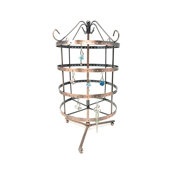 Bejeweled Display/®Copper Color 24 Hooks Rotating Necklace holer//Jewelry Organizer Display Stand w// Gift Box