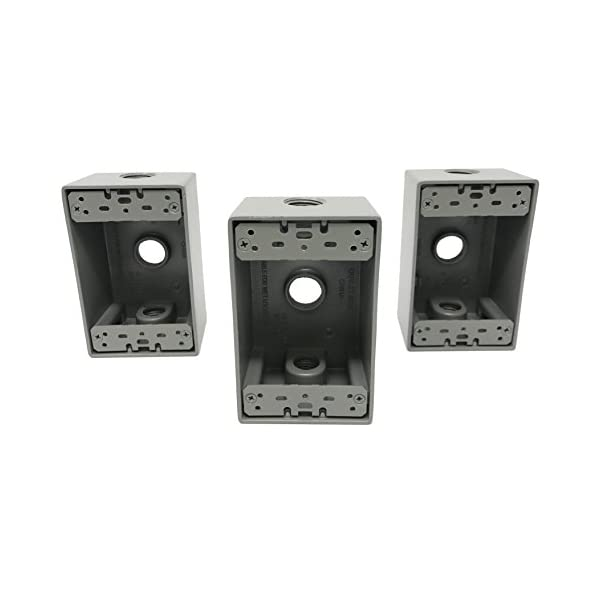 Sealproof 2-Gang 3 1//2 Holes Weatherproof Rectangular Exterior Electrical Outlet Box with 3 Outlets UL Listed Three 1//2-Inch Holes Double Gang