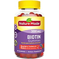 Nature Made Biotin 3000 mcg Gummies, 90ct to Support Healthy Hair/Skin/Nails† (Packaging May Vary)