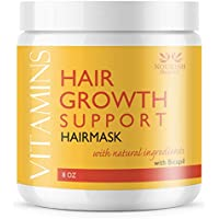 Nourish Beaute Vitamins Hair Mask for Hair Loss and Deep Conditioning to Promote Hydration and Regrowth on Dry Damaged Hair for Men and Women, 8 Ounces