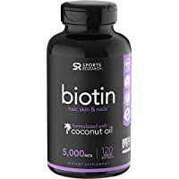 Biotin 5000mcg with Organic Virgin Coconut Oil | Hair, Skin & Nails | Vegan Certified & Non-GMO Verified (120 Veggie softgels)