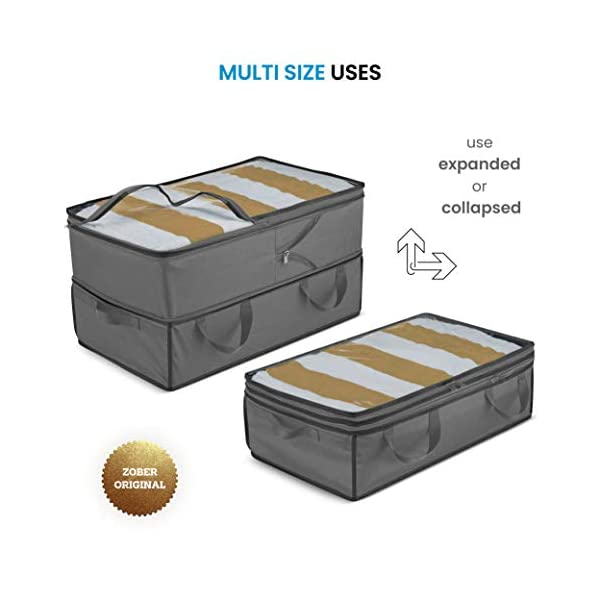 Expandable Clothes Storage Bags 70L Capacity Reinforced Carry Handles- for Comforter Blanket Bedding 2 Adjustable Sizes for Compact Under Bed Storage or Expands to Large Clothing Storage Bag 1 Pk