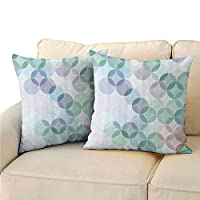 Xlcsomf Abstract Pillowcase Lightweight, Stylized Circles Curvy Square Shapes Dots Halftoned Pastel Colors for Sofa (2 PCS, 24x24 Inch) Mint Green Purplegrey White