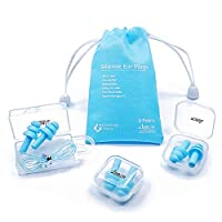 Reusable Silicone Ear Plugs - ANBOW Waterproof Noise Reduction Earplugs for Sleeping, Swimming, Snoring, Concerts, 32dB Highest NRR, 3 Pairs with Bonus Travel Pouch