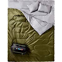 Sleepingo Double Sleeping Bag for Backpacking, Camping, Or Hiking, Queen Size XL! Cold Weather 2 Person Waterproof Sleeping Bag for Adults Or Teens. Truck, Tent, Or Sleeping Pad, Lightweight