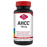 Olympian Labs Premium AHCC Supplement–750mg of AHCC per Capsule–Supports Immune Health, Liver Function, and Natural Killer Cell Activity- 60 Caps