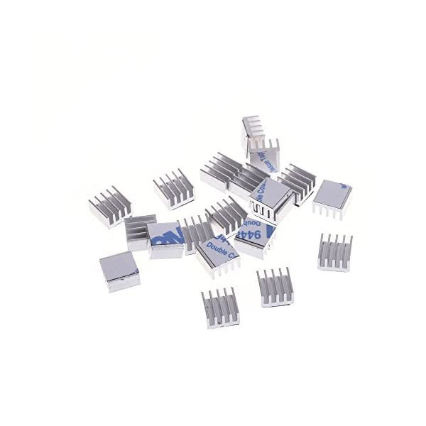 Mosfet with Adhesive Tape BCP Pack of 20 Aluminum Heatsink Cooler Circuit Board for Raspberry Pi 14x14x6mm IC Chips