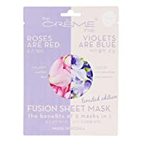 The Crème Shop Korean Skincare Beauty Full Facial Advanced Sheet Daily Natural Essence Soothing easy-to-use - Fusion Sheet Mask the benefits of 2 masks in 1 (Roses are red N Violets are blue)