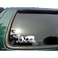 Cowboy Praying with Cross - Die Cut Christian Vinyl Window Decal/sticker for Car or Truck 3.5