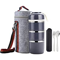WORTHBUY Bento Lunch Box Stackable Stainless Steel Thermal Bento Box Food Storage Containers with Insulated Lunch Bag and Portable Cutlery Spoon Fork for Adults Women Men Kids (Gray)