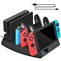 Sunjoyco Controller Charger Compatible with Nintendo Switch Console/Joy-con/Pro Controller, 7 Port Charging Dock Stand Station