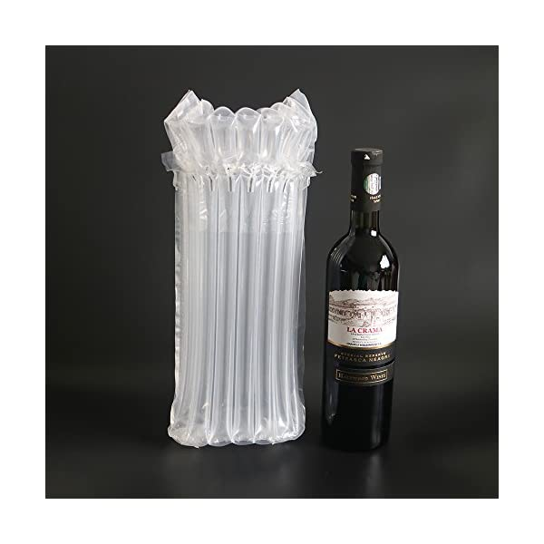 Wine Bottle Protector Bubble Bags with Free Pump Reusable Sleeve Travel Inflatable Air Column Cushion Bag for Packing and Safe Transportation of Glass Bottles in Airplane Cushioning 10PCS