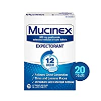 Chest Congestion, Mucinex Expectorant 12 Hour Extended Release Tablets, 20ct, 600mg Guaifenesin with Extended Relief of Chest Congestion Caused by Excess Mucus. Thins and Loosens Mucus