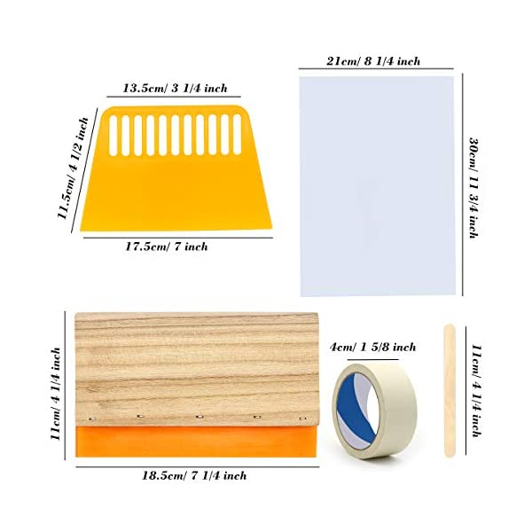 Angela/&Alex 10 x 14 Inch Wood Silk Screen Printing Frame White Mesh Screen Printing Squeegees Inkjet Transparency Film and Mask Tape 20 Pieces Screen Printing Starter Kit