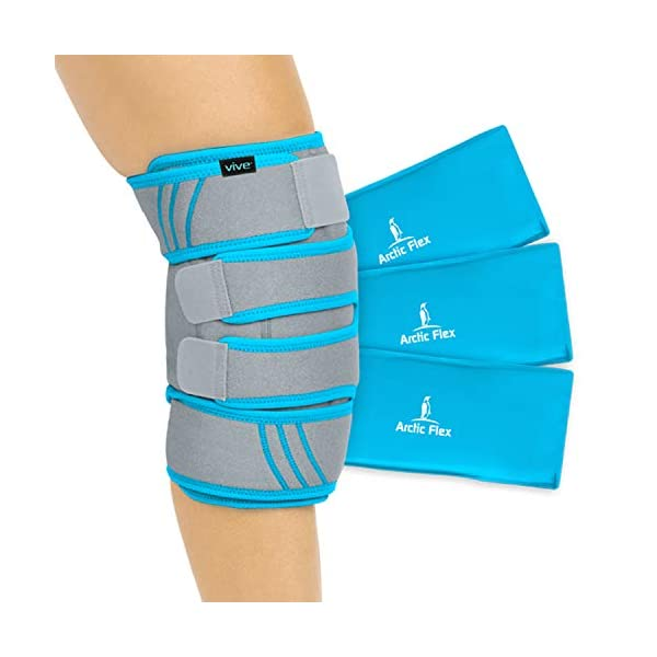 Vive Knee Ice Pack Wrap - Cold / Hot Gel Compression Brace - Heat Support Strap For Arthritis Pain, Tendonitis, ACL, Athletic Injury, Osteoarthritis, Women, Men, Running, Meniscus and Patella Surgery