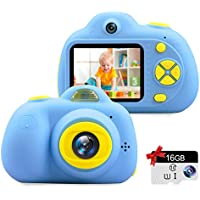 """Kids Camera Gifts for 3-9 Year Old Girls,1080P HD Mini Rechargeable Children Shockproof Digital Front and Rear Selfie Camera Child Camcorder Waterproof 2.0"""" LCD Screen (Blue)"""