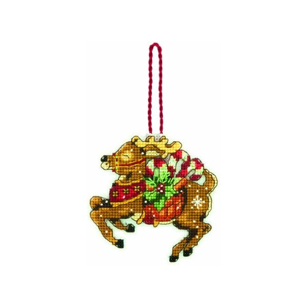 4.5 W x 3.5 H Dimensions Counted Cross Stitch Sleigh Christmas Ornament Kit