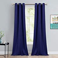 NICETOWN Window Drapes Long Curtains - Living Room Panels Grommet Top Window Treatment for Hall & Guest Room (Navy Blue, 42 inches Wide x 90 inches Long, 2 Pieces)