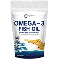 Triple Strength Omega-3 Fish Oil Supplement (Burpless), 3750mg Per Serving, 300 Softgels, EPA 2000mg, DHA 1500mg, Strongly Supports Cognitive Health and Cardiovascular Function, No GMOs & Made in USA