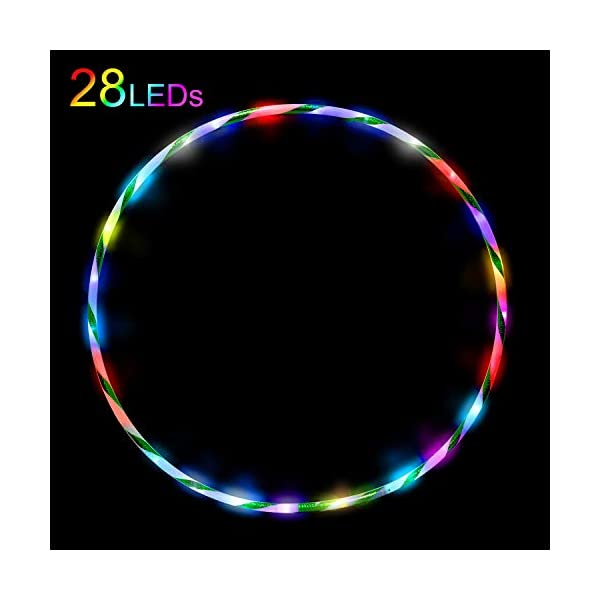 Battery is not Included DASINKO LED Hulas Hoop Dance Exercise Light Up Hoola Hoop for Kids Adults Teens Fitness Weight Loss Color Strobing Changing Led Glow Lights 90cm 36in