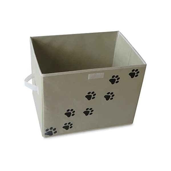 Feline Ruff Large Dog Toys Storage Box Perfect Collapsible Canvas Bin for Cat Toys and Accessories Too! 16 x 12 inch Pet Toy Storage Basket with Lid Tan