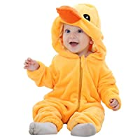 IDGIRL Baby Costume, Animal Cosplay Pajamas for Boys Girls Winter Flannel Romper Outfit 2T, Colorful One Piece