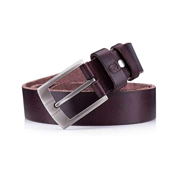 Lydianzishangwu Mens Belt Crazy Horse Skin Cream Leather Leather Pin Buckle Thickening Youth Casual Belt Color : Brown, Size : 125cm, Style : B