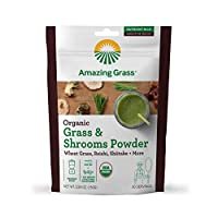 Amazing Grass Greens & Shrooms Booster: Super Greens Smoothie Booster with Cordyceps, Turkey Tail, Reishi & Shitake, 30 Servings