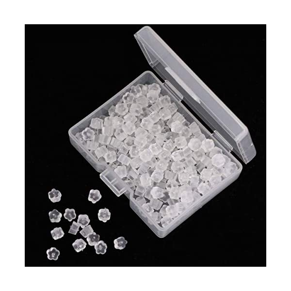 Petal Shape Shapenty 200PCS//100Pairs Clear Color Plastic Rubber Earring Safety Back Stopper Replacement for Fish Hook Earring