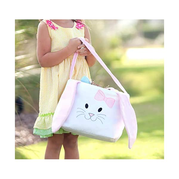 Hippity Rabbit Blue//Pink White Personalized Easter Basket Bag with Fluffy Ears for Kids Carrying Gift and Eggs Hunt Bag Fluffy Ears Blue THOVSMOON Cute Bunny Easter Bucket