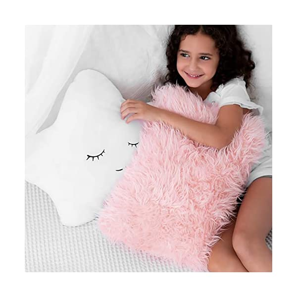 Soft and Plush Star Furry White w// Cute Embroidered Sleeping Face and Fluffy Pink Faux Fur Kids Set of 2 Decorative Throw Pillows for Baby Girls For Crib Nursery Toddler or Teen Bedroom D/écor