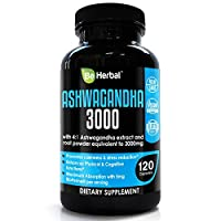 BE HERBAL Organic Ashwagandha 3000mg with BioPerine - Stress Relief, Anti Anxiety, Cortisol Manager and Adrenal Support Supplement - 120 Capsules