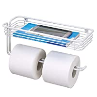 mDesign Toilet Tissue Paper Holder and Multi-Purpose Shelf - Wall Mount Storage Organizer for Bathroom, Holds 2 Rolls - Durable Metal Wire Design - White
