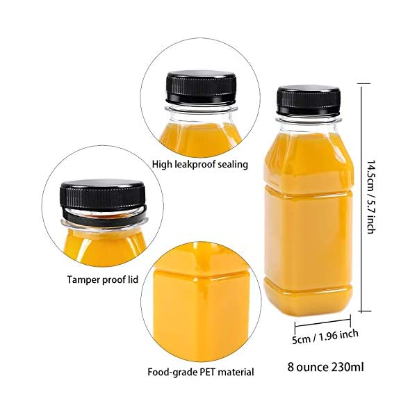 Tea and Other Beverages Milk Aneco 6 Pack 12 Ounce Clear PET Plastic Bottles Empty Juice Smoothie Drink Bottles with Lids for Water