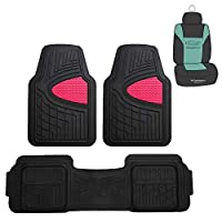 FH Group F11511 Trimmable Heavy Duty Tall Channel Floor Mats (Pink) Full Set with Gift - Universal Fit for Cars Trucks and SUVs