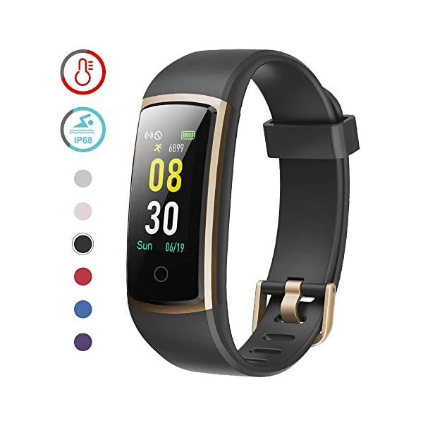 YAMAY Fitness Tracker with Blood Pressure Monitor Heart Rate Monitor Watch,IP68 Waterproof Activity Tracker 14 Modes Smart Watch with Step Counter Sleep Tracker,Fitness Watch for Women Men (Gold)