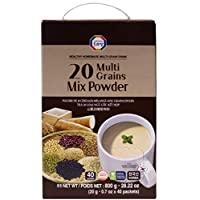 Korean 20 Multi-Grains, Long Lasting, Low Calorie, Black, Brown Rice, Beans, Adlay, Millet, Barley, Sesame, Soy Mix Powder Tea Delicious Nutritious Healthy Breakfast Homemade Drink (20g x 40 packets)
