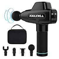 Massage Gun Deep Tissue KMAXWLL Handheld Percussion Muscle Massager for Pain Relief, Electric Body Massager Sports Drill Portable Power Quiet Professional Massager 20 Speeds 4 Heads, Black