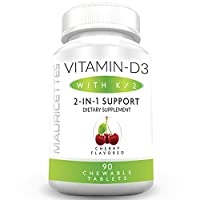 Chewable Vitamin D-3 with K-2 Supplement for Kids and Adults - 2000 IU VIT D3 & Vitamins K2 MK7 - 90 Non-GMO Chewables