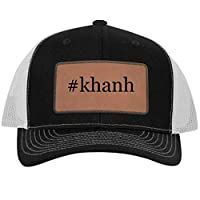 One Legging it Around #Khanh - Hashtag Leather Dark Brown Patch Engraved Trucker Hat
