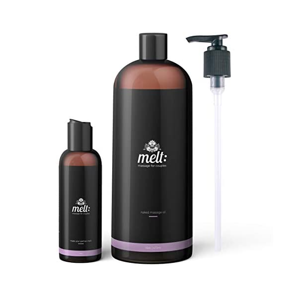 Melt Almond Sensual Massage Oil 16oz + Free Couples Massage Tutorial + Bonus Travel Bottle + 3 Caps. Relaxing, Therapeutic, Soft, Moisturizing Skin Therapy | Make Your Partner Melt Sweet Almond Oil