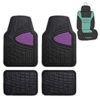 FH Group F11311 Premium Tall Trimmable Channel Rubber Floor Mats (Purple) Full Set with Gift - Universal Fit for Cars Trucks and SUVs
