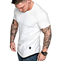 Hmlai Clearance Men's Fashion Short Sleeve Summer Casual Pleated Slim Fit Raglan Hoodie Hipster Solid Cotton Tops Blouses (L, White)