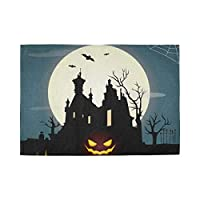 YUEND Table Mats Halloween Party Bat Night Tree Castle Resistant Placemats Kitchen Home Heat Durable 1PC Cup for Dinning Table Non Slip