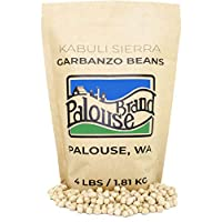 Kabuli Sierra Garbanzo Beans aka Chickpeas or Ceci Beans | Non-GMO Project Verified | 4 LBS | 100% Non-Irradiated | Certified Kosher Parve | USA Grown | Field Traced (4 LB Kraft Bag)