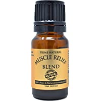 Prime Natural Muscle Relief Essential Oil Blend 10ml - Natural Pure Undiluted Therapeutic Grade for Aromatherapy Massage - Relieves Muscle Pain, Spasms, Stiffness, Backache, Sprained Sore Muscle