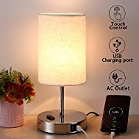 Touch Control Bedside Table Lamp, Nightstand Lamp with USB Charging Ports, 3 Way Dimmable and AC Outlets, Round Lamp Shade, Desk Lamp, for Bedroom, Living Room, Office Reading, Halogen Bulb Included