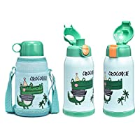 DILLER Thermos Water Bottle for Kids, 18 oz Stainless Steel Water Bottle with 3 Kinds of Lids, Easy Use for Children, Metal Thermos Flask Keeps Cold for 24 Hours, Hot for 12 Hours (Crocodile)